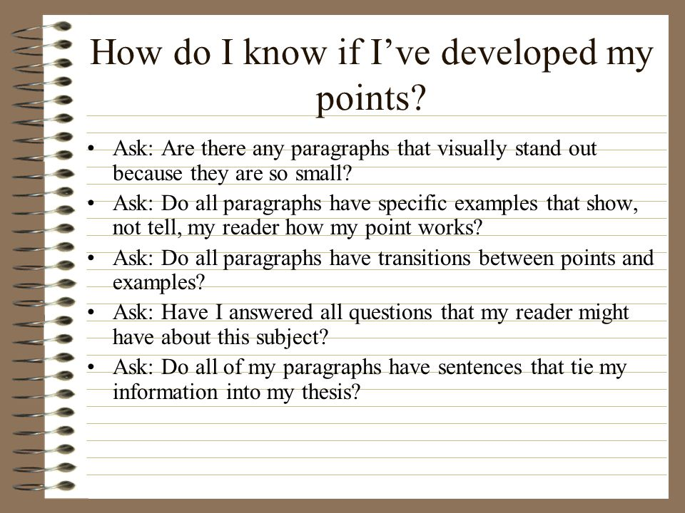 How do I know if I've developed my points