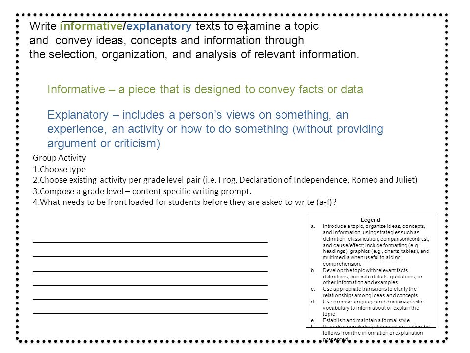 Write informative/explanatory texts to examine a topic
