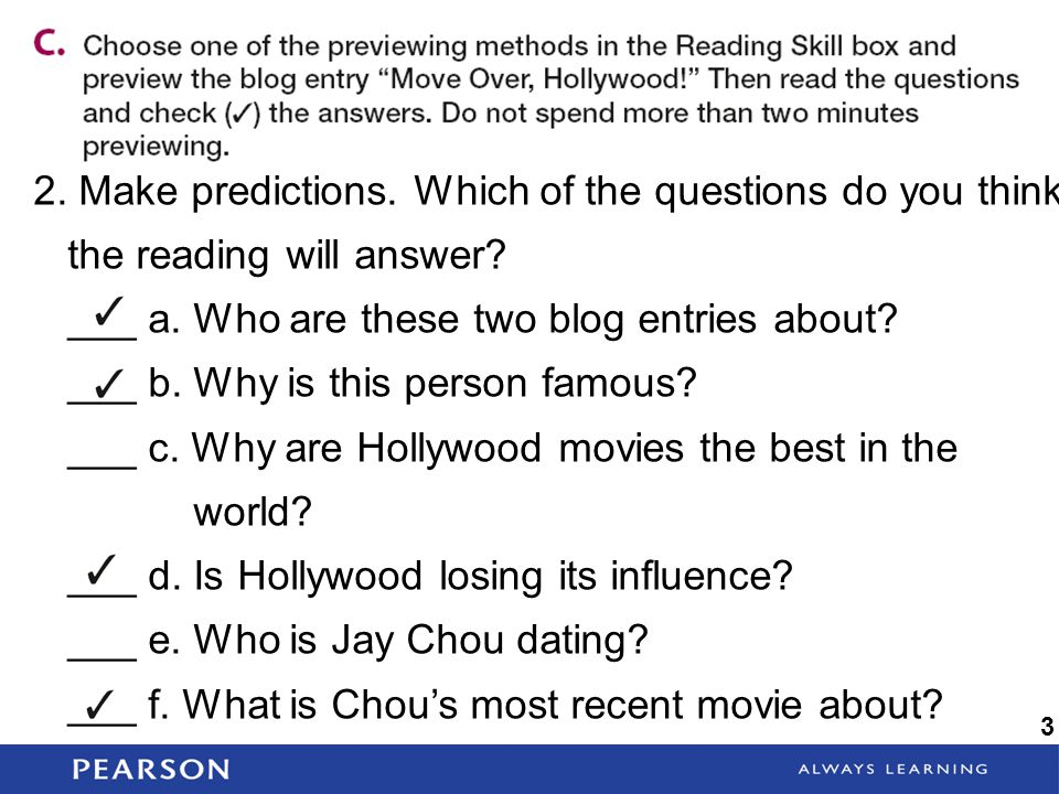 Make predictions. Which of the questions do you think