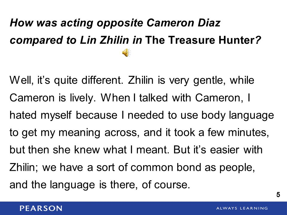 How was acting opposite Cameron Diaz compared to Lin Zhilin in The Treasure Hunter