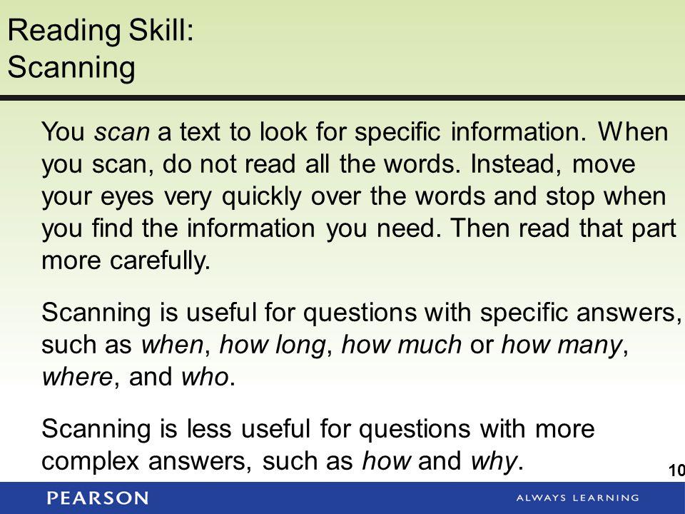 Reading Skill: Scanning