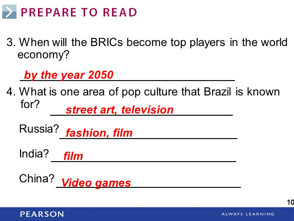 3. When will the BRICs become top players in the world economy