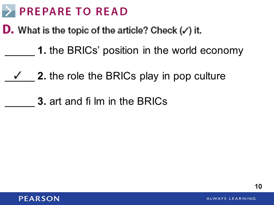 _____ 1. the BRICs' position in the world economy