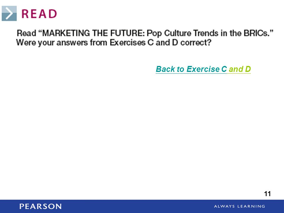 Back to Exercise C and D 11