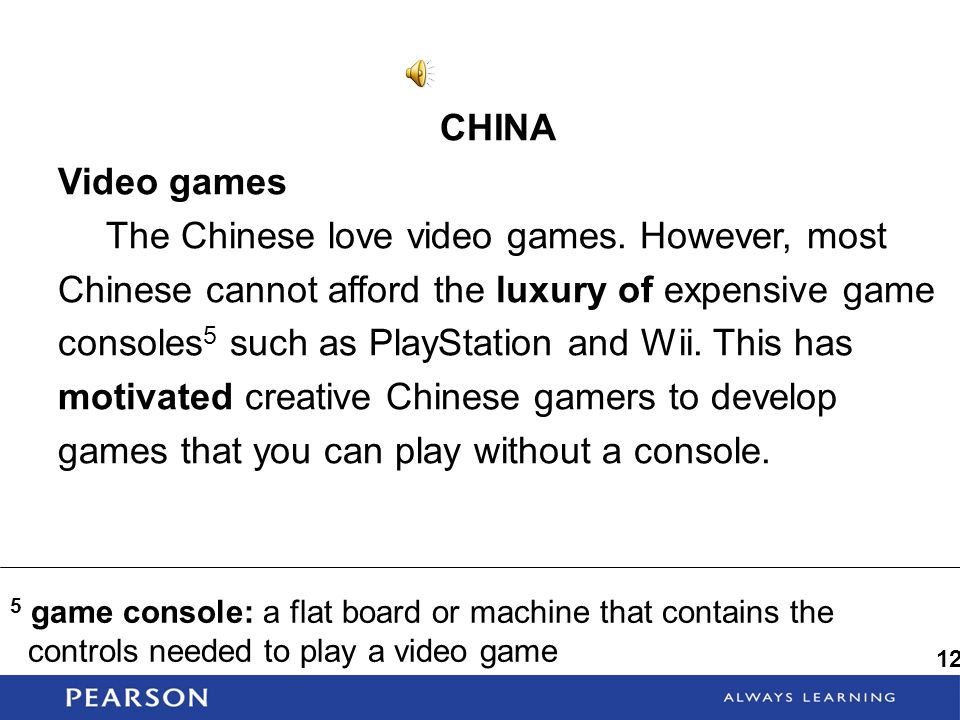 CHINA Video games.
