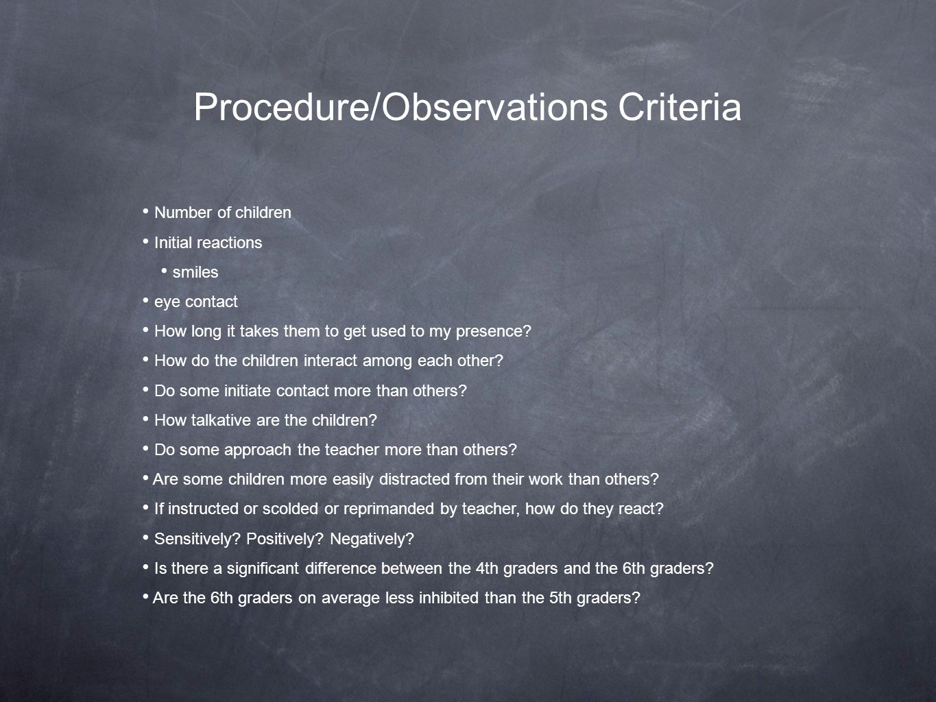 Procedure/Observations Criteria