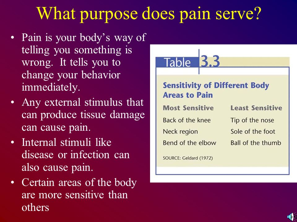 What purpose does pain serve