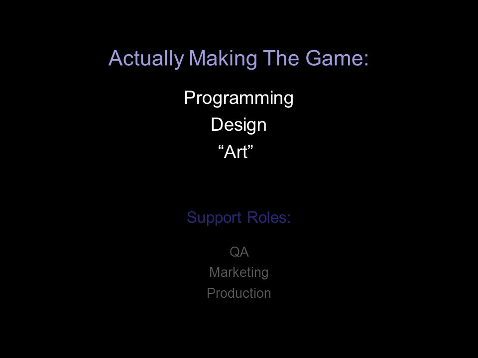 Actually Making The Game: