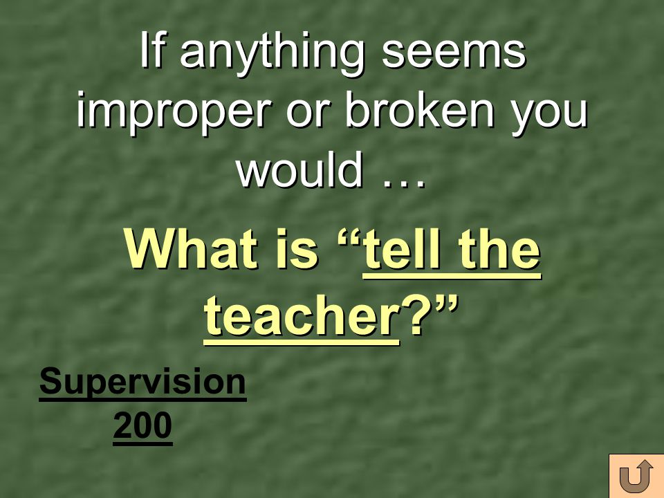 If anything seems improper or broken you would …