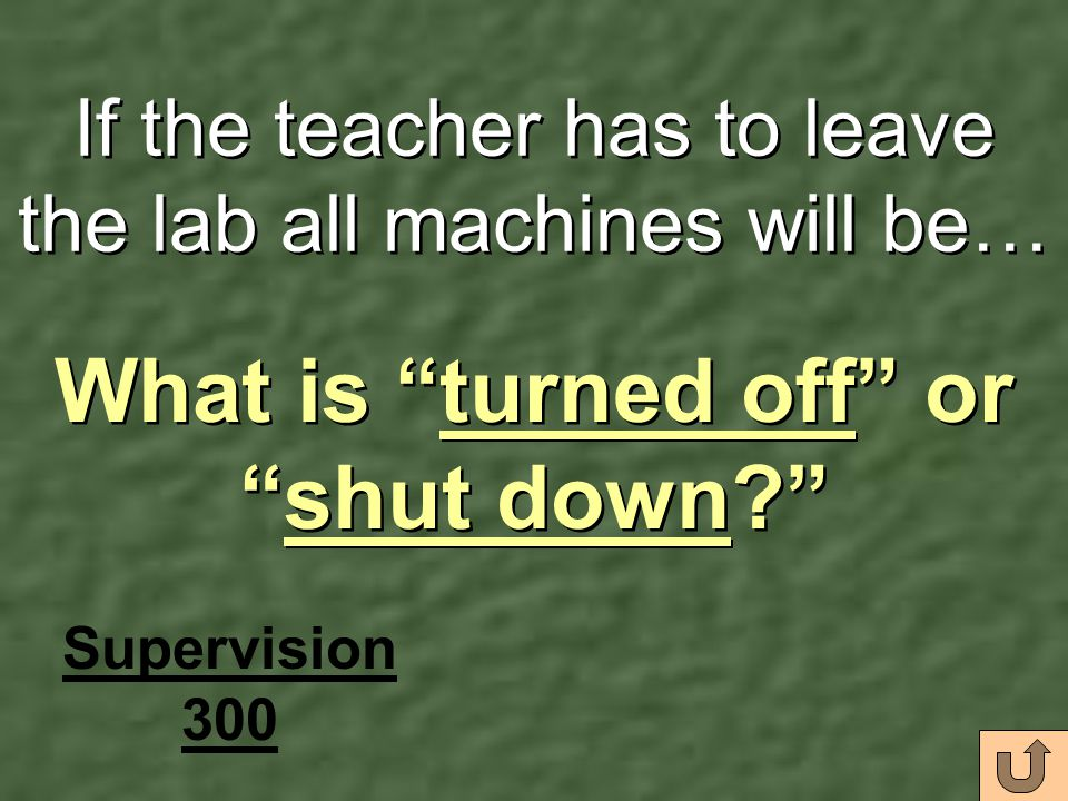 If the teacher has to leave the lab all machines will be…