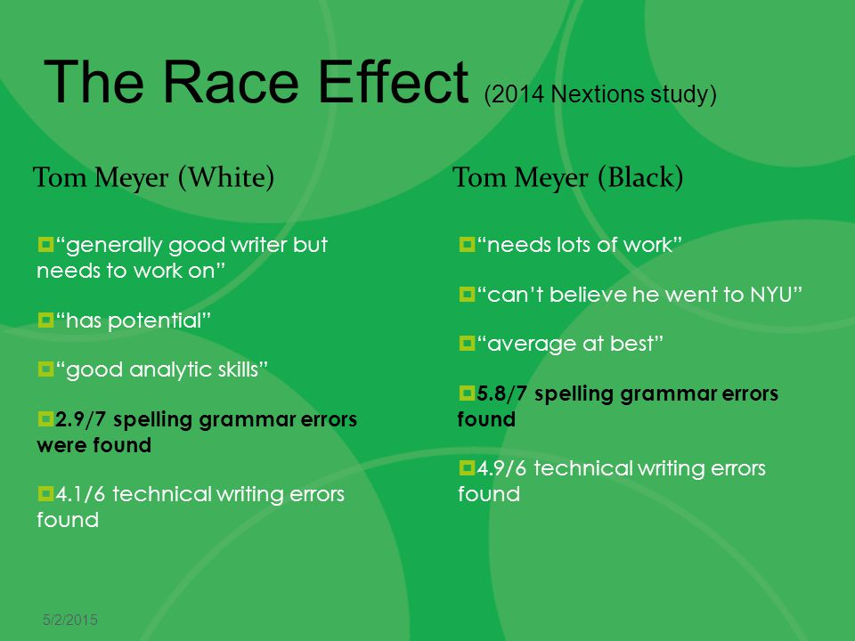 The Race Effect (2014 Nextions study)