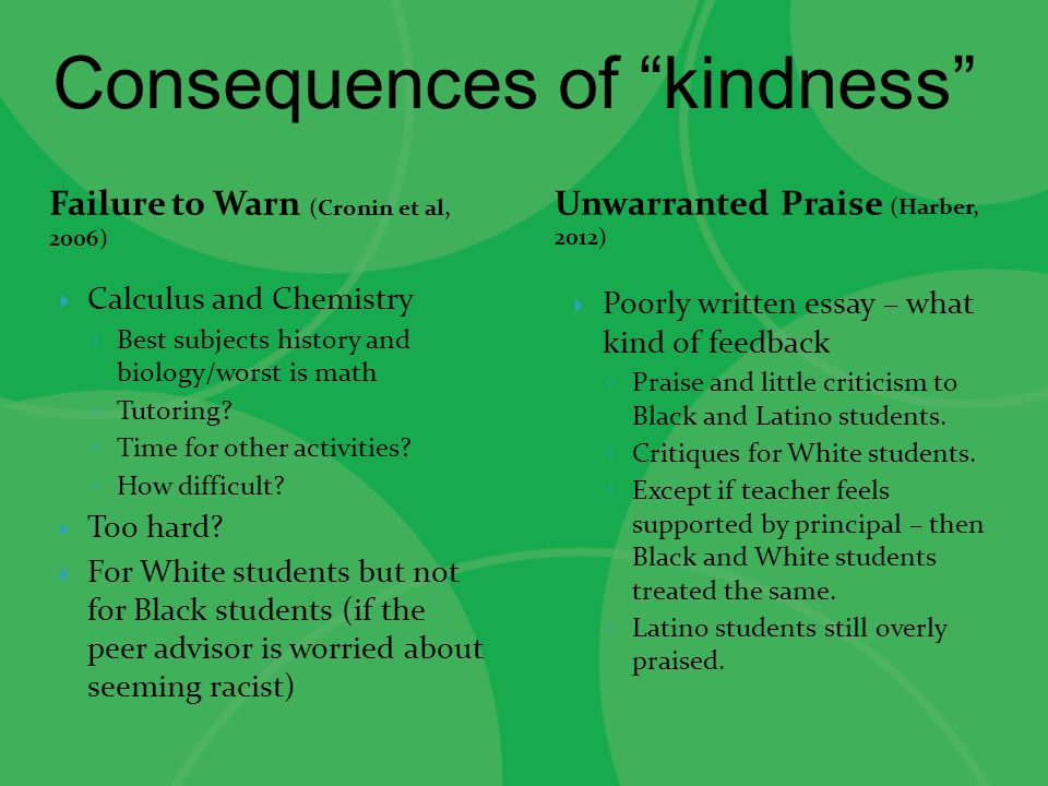 Consequences of kindness