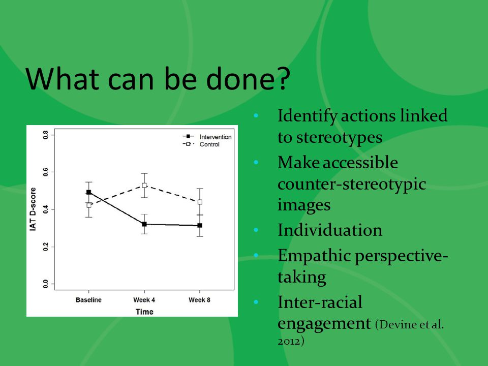 What can be done Identify actions linked to stereotypes
