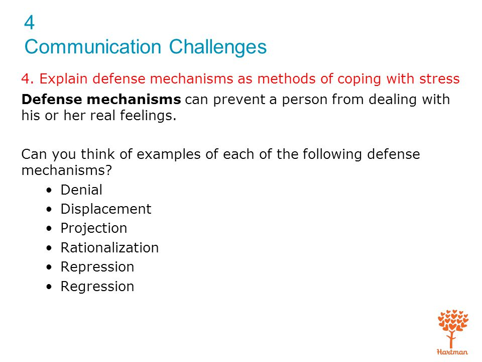 4. Explain defense mechanisms as methods of coping with stress