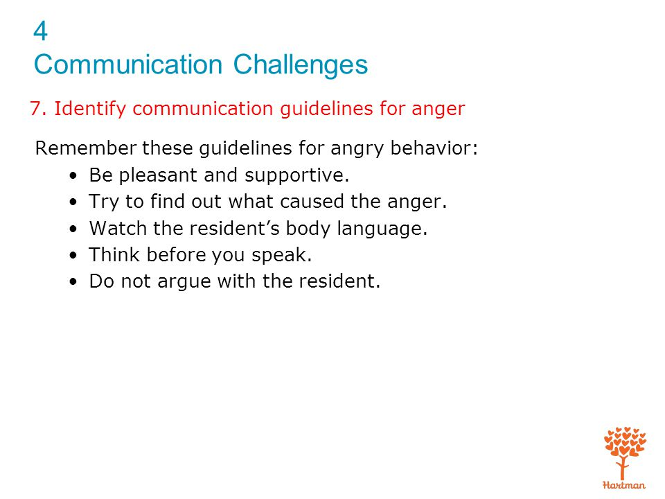 7. Identify communication guidelines for anger