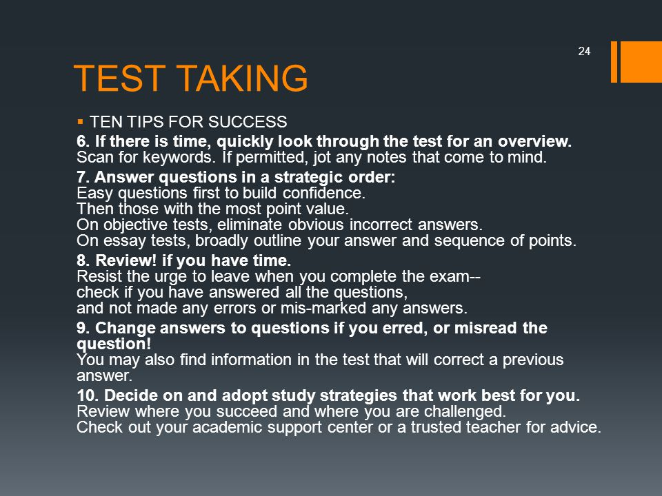 TEST TAKING TEN TIPS FOR SUCCESS