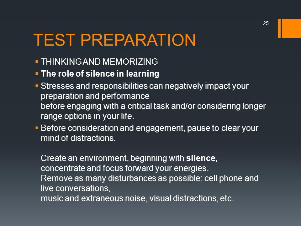 TEST PREPARATION THINKING AND MEMORIZING