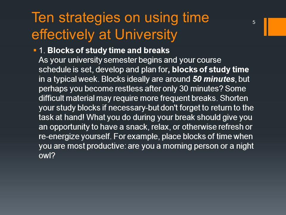 Ten strategies on using time effectively at University