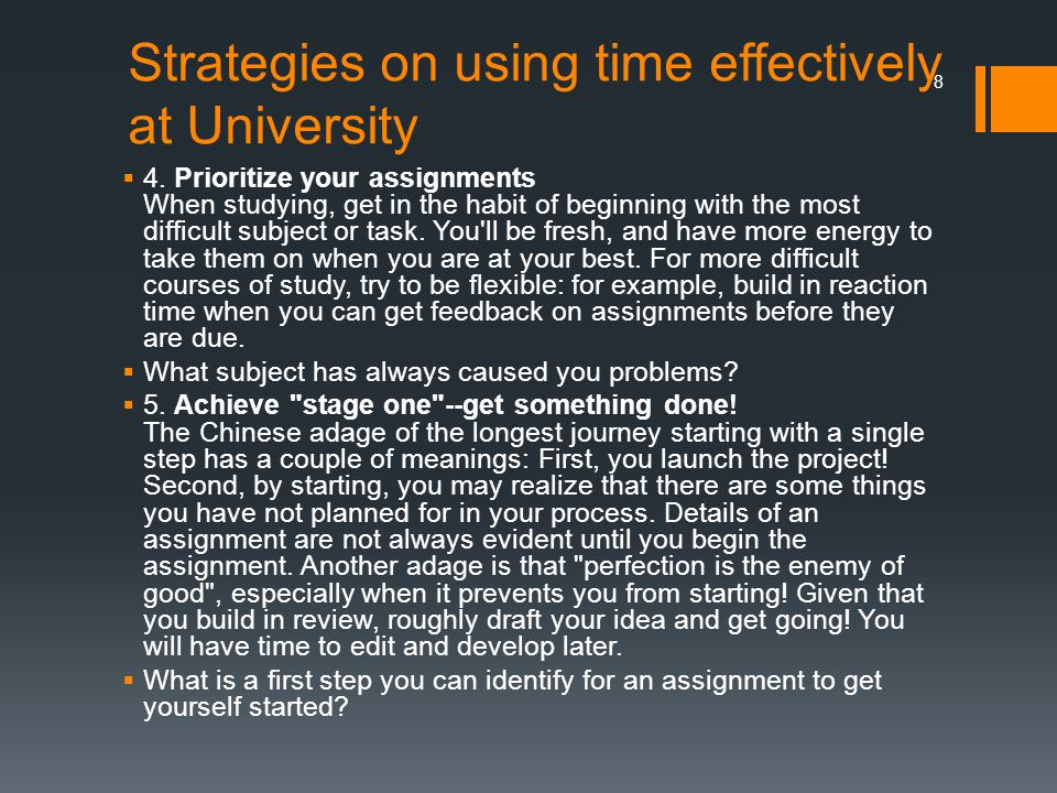 Strategies on using time effectively at University