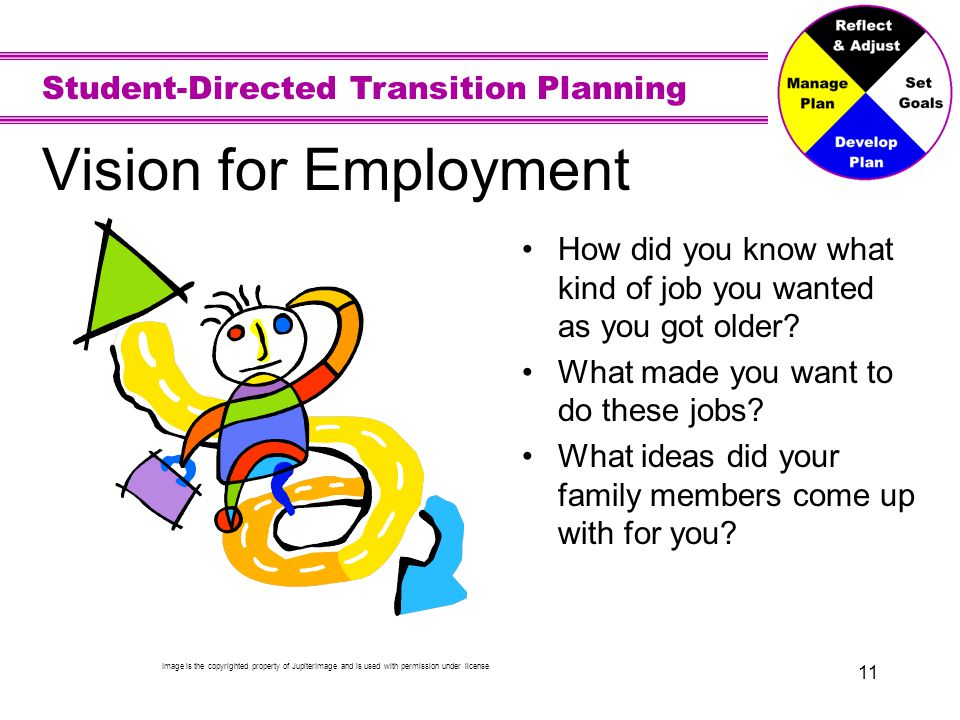 Vision for Employment Your preferences guide you toward what you want to be. Your interests, strengths, and needs also affect your choices.