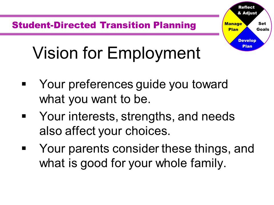 Vision for Employment Preferences - A preference is liking one job over another.