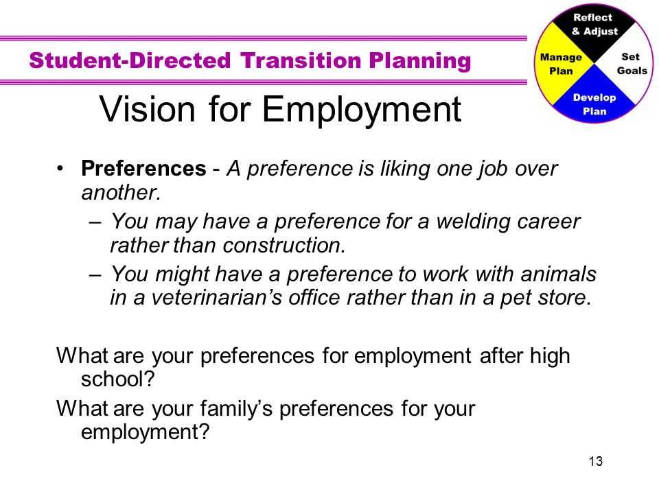 Vision for Employment Interests - Jobs you like and want to learn more about or do. What are your job interests