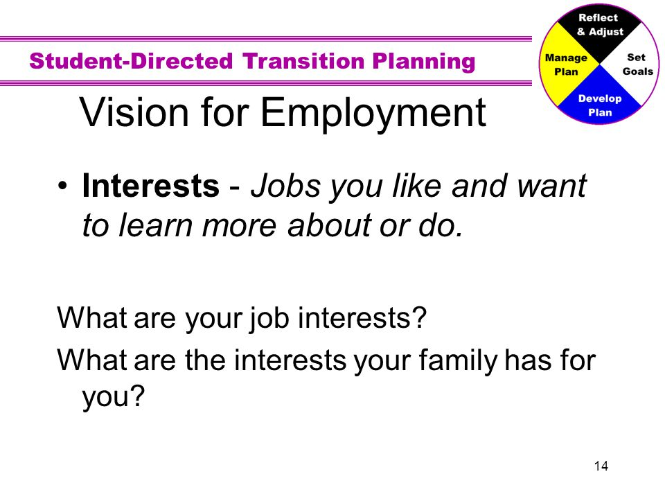 Vision for Employment Strengths - What you do well on a job