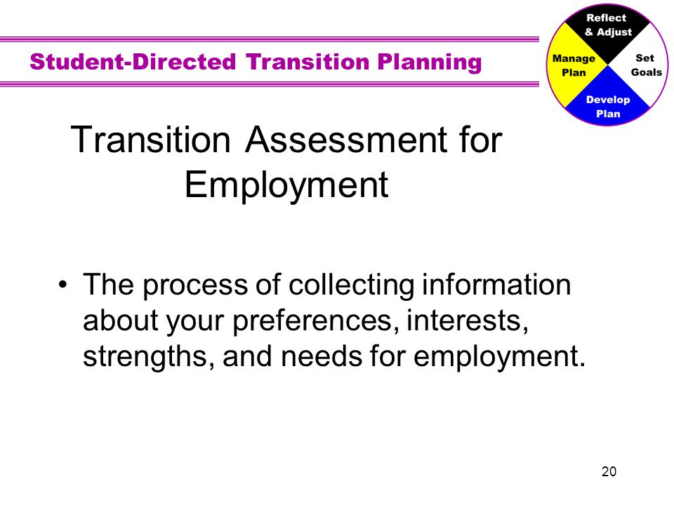 Assessment Measures of your job interests, strengths, needs, and performance. Job locations could be on school or in your community.
