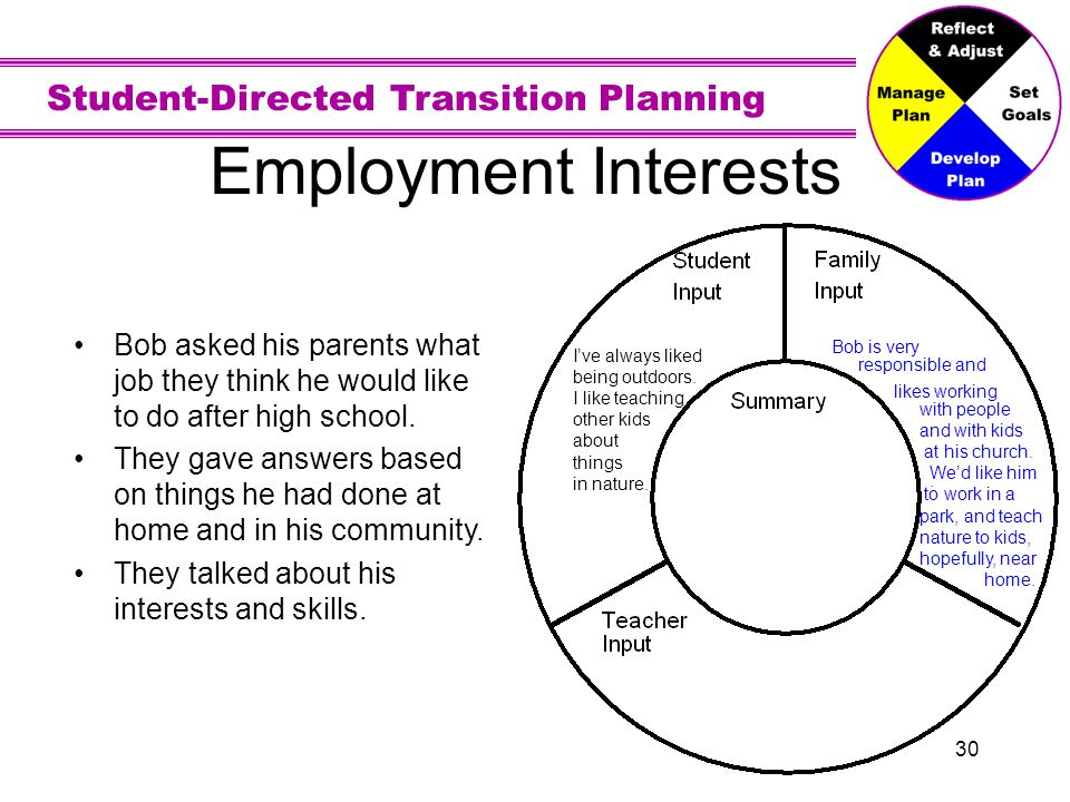 Employment Interests . I've always liked. being outdoors. I like teaching. other kids. about. things.