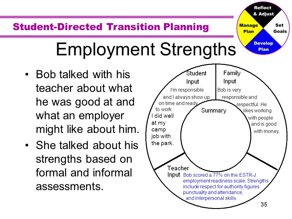 Employment Strengths Bob is very. responsible and. respectful. He. likes working. with people. and is good.