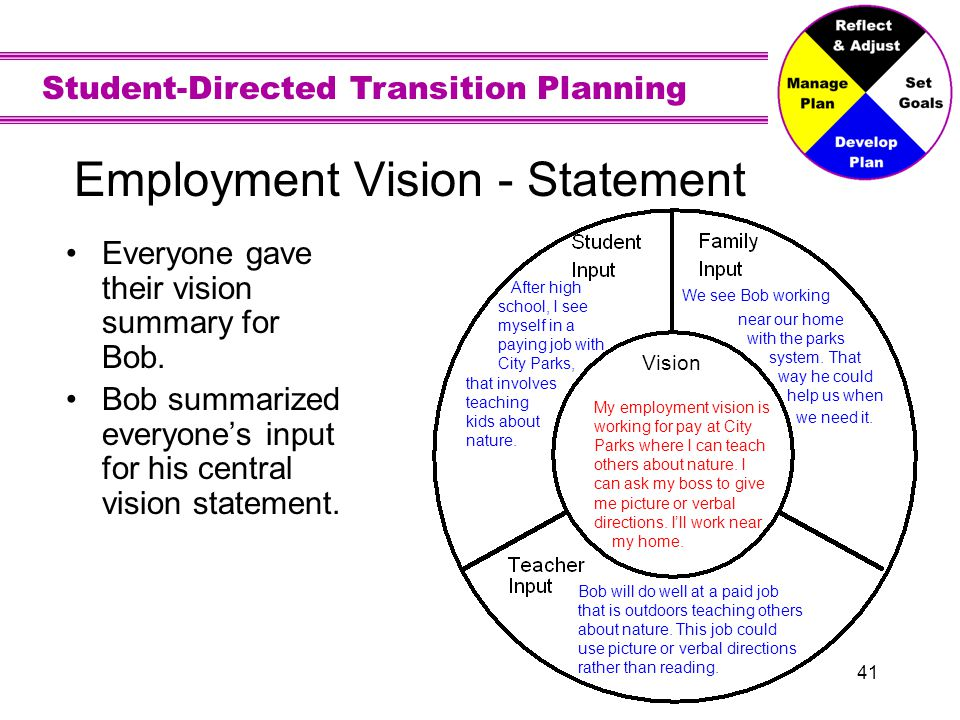 Activity: Write your own Vision for Employment using the Input Circles