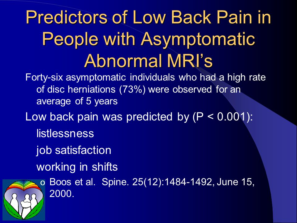 Predictors of Low Back Pain in People with Asymptomatic Abnormal MRI's