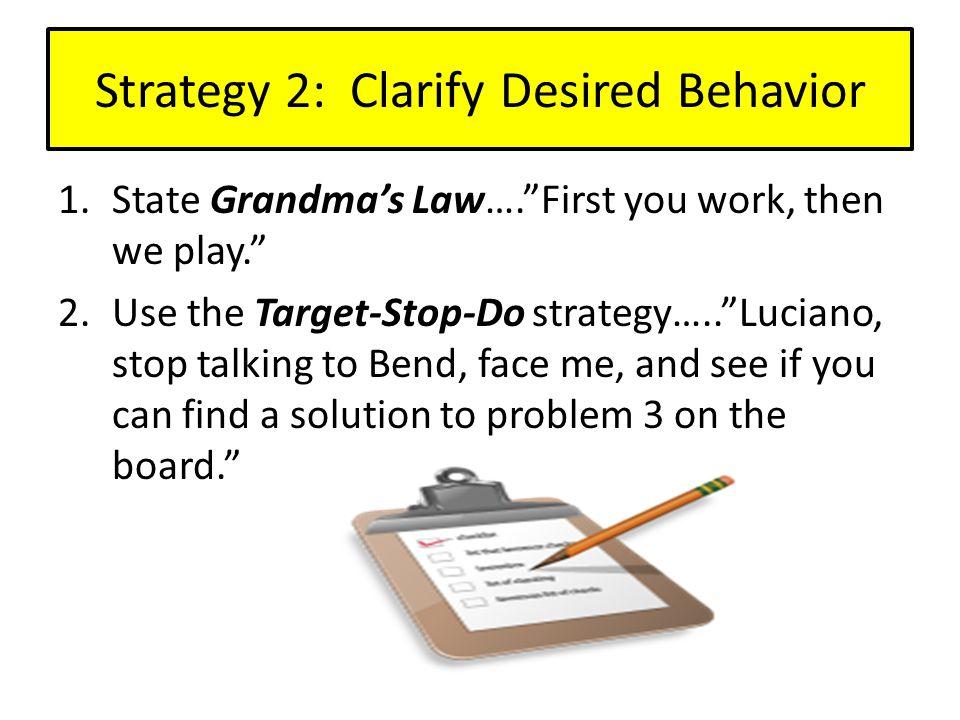 Strategy 2: Clarify Desired Behavior