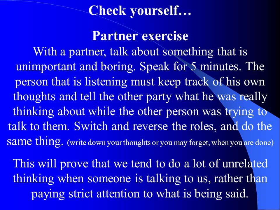 Check yourself… Partner exercise