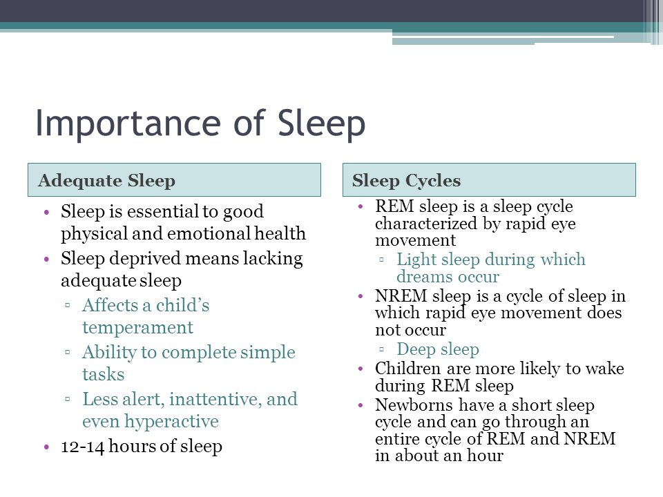 Importance of Sleep Adequate Sleep. Sleep Cycles. Sleep is essential to good physical and emotional health.