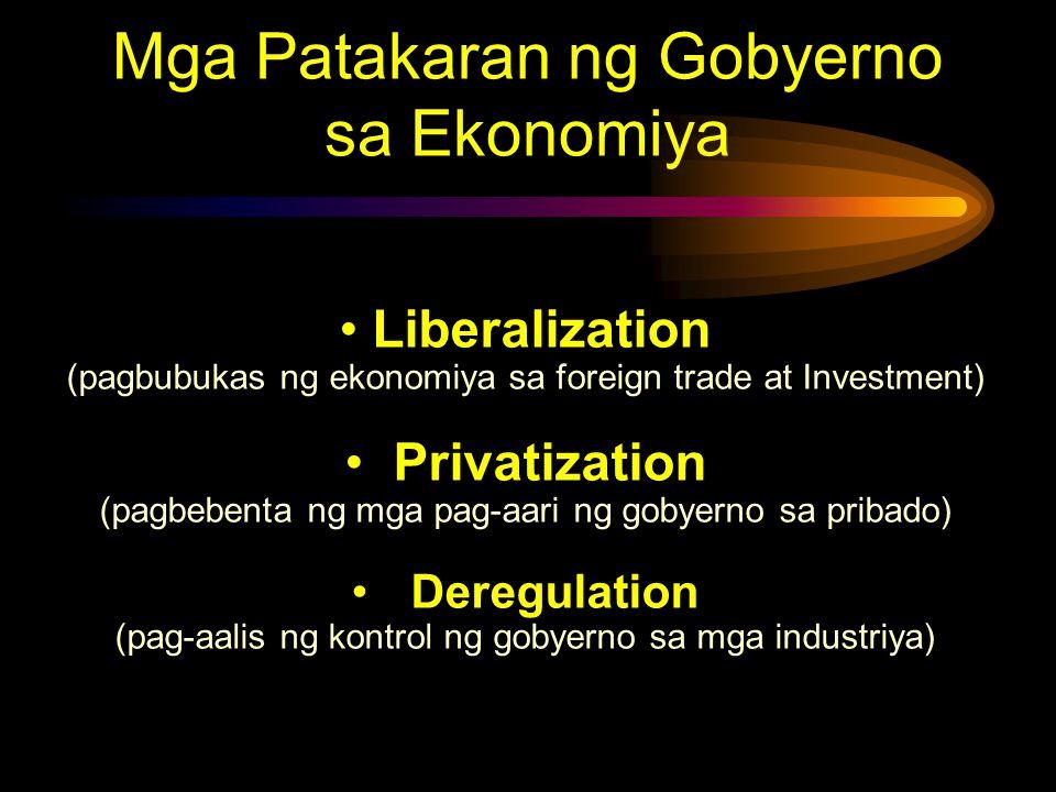Mga Patakaran ng Gobyerno sa Ekonomiya