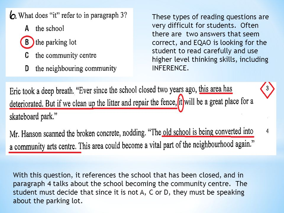 These types of reading questions are very difficult for students