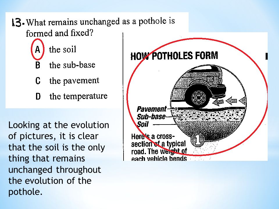Looking at the evolution of pictures, it is clear that the soil is the only thing that remains unchanged throughout the evolution of the pothole.