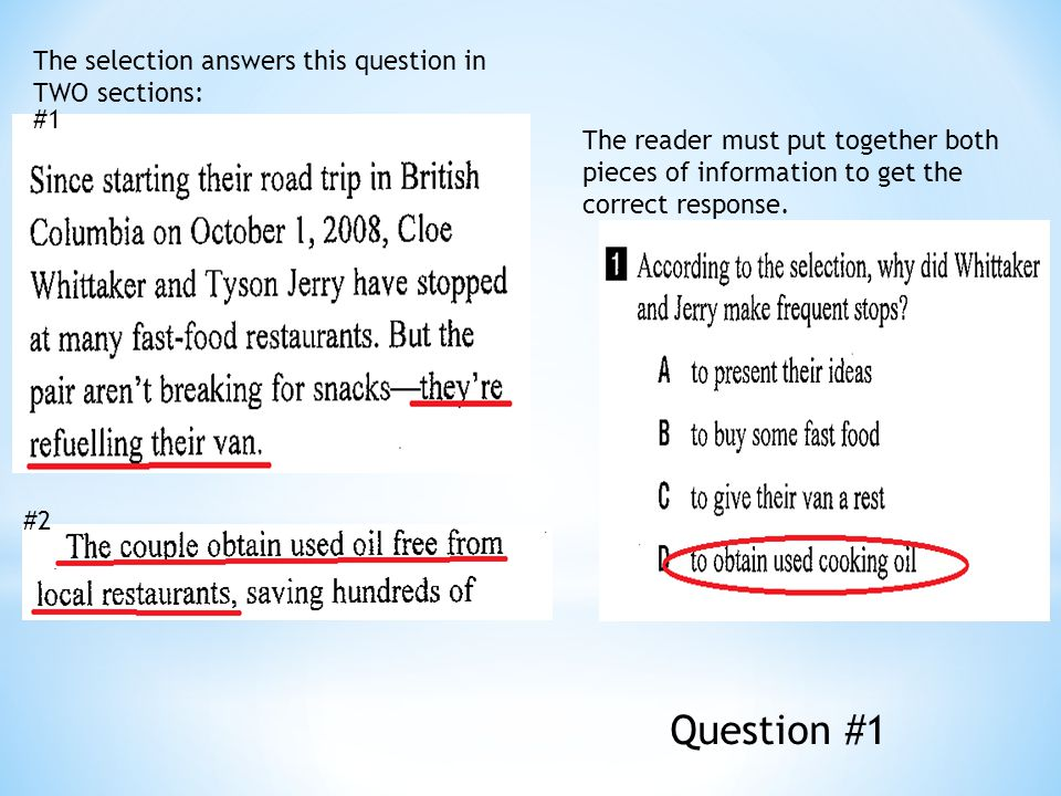 The selection answers this question in TWO sections: