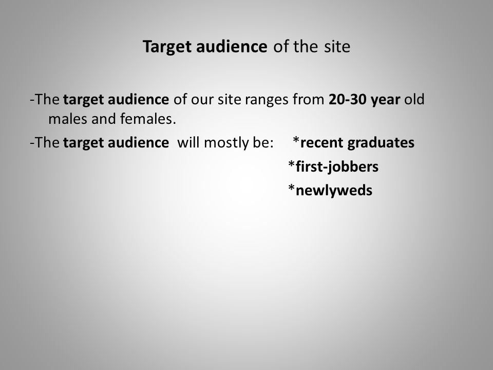 Target audience of the site