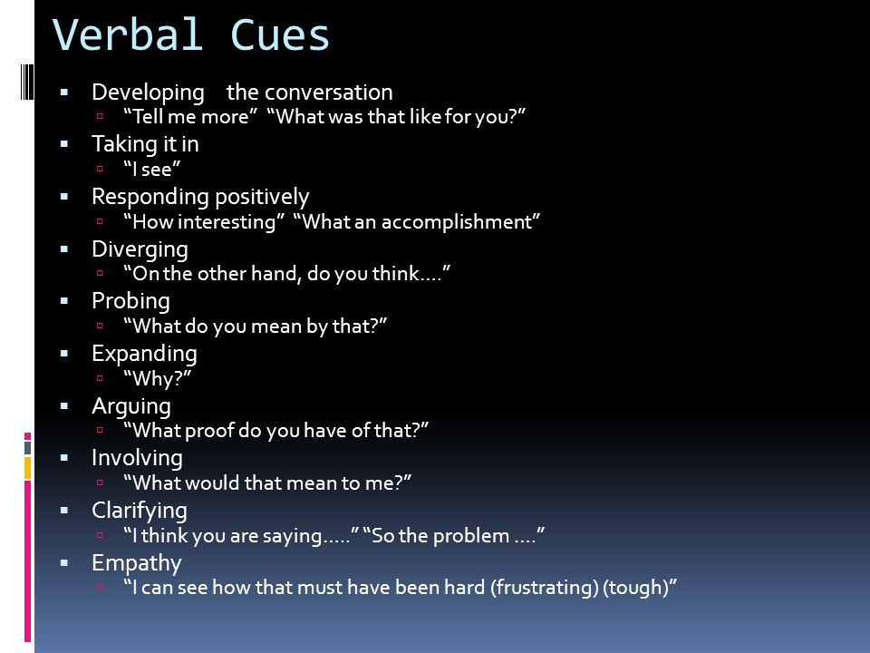 Verbal Cues Developing the conversation Taking it in