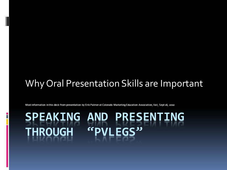 Speaking and presenting through PVLEGS
