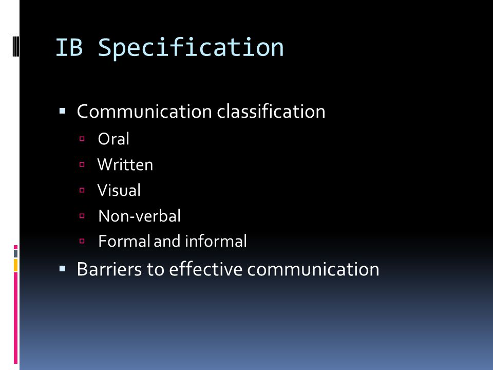 IB Specification Communication classification