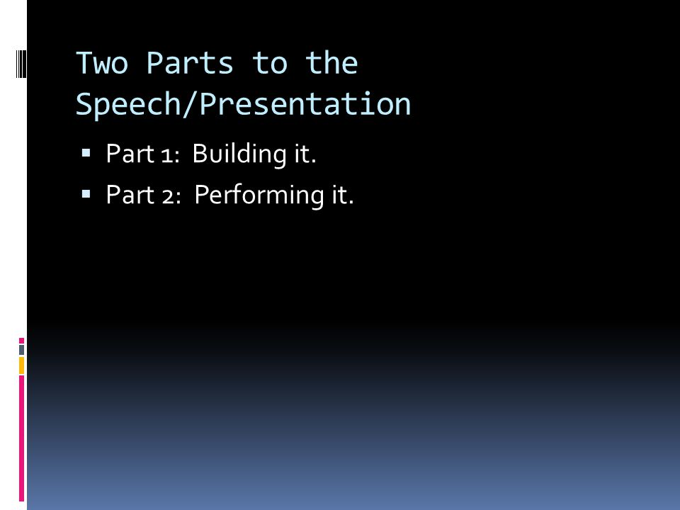 Two Parts to the Speech/Presentation