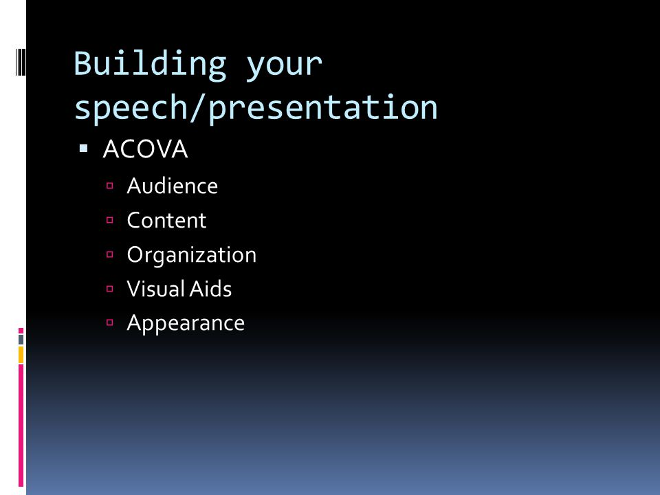 Building your speech/presentation
