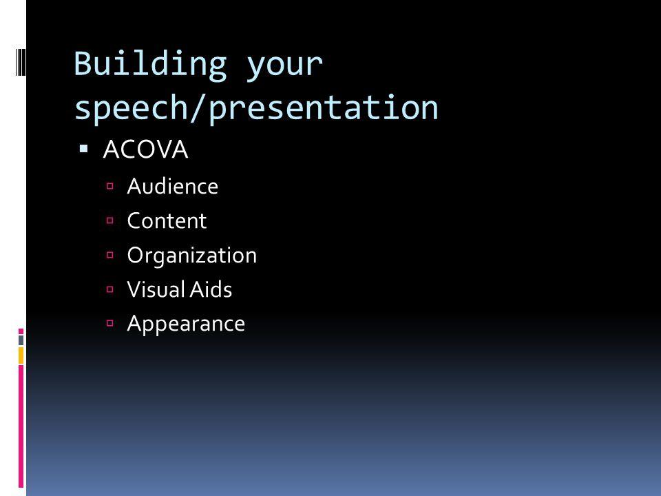 Building your speech/presentation