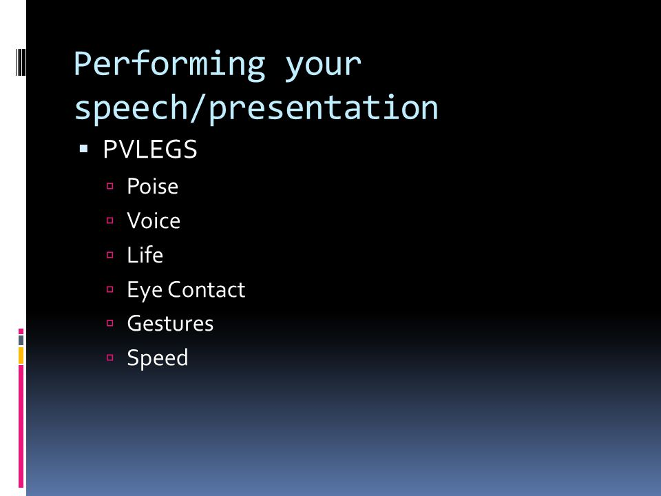 Performing your speech/presentation