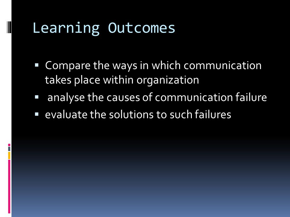 Learning Outcomes Compare the ways in which communication takes place within organization. analyse the causes of communication failure.