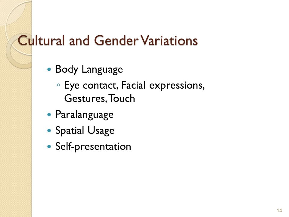 Cultural and Gender Variations