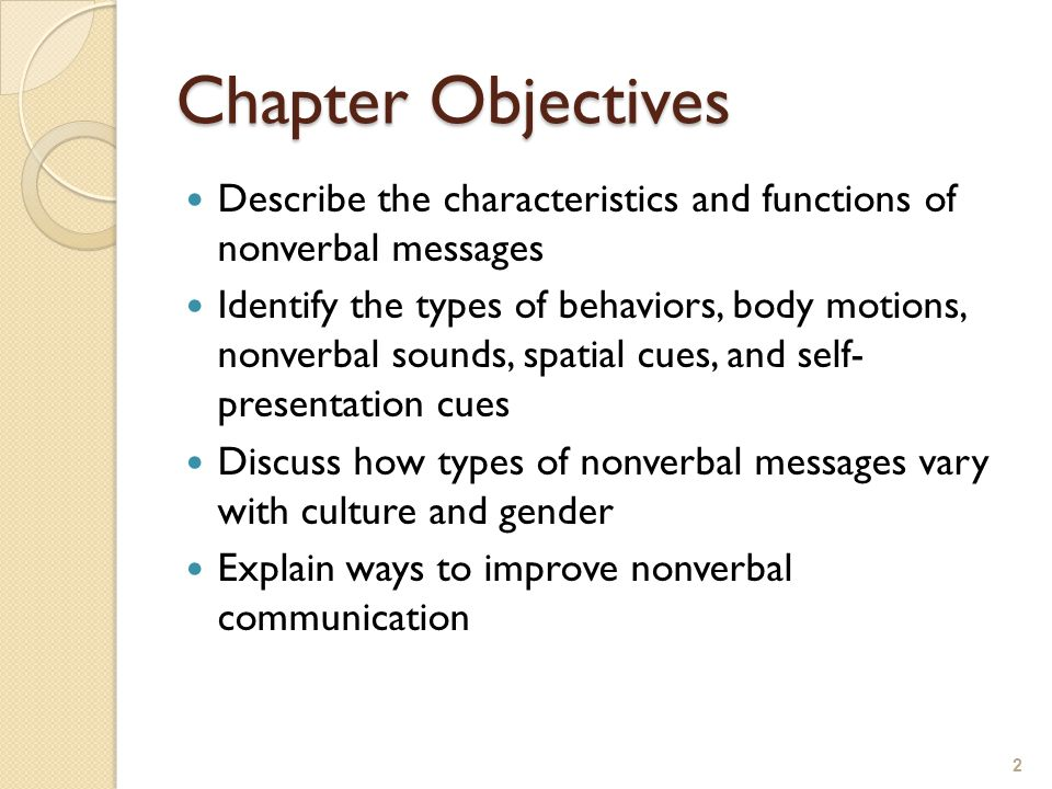 Chapter Objectives Describe the characteristics and functions of nonverbal messages.